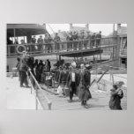 Inmigrantes que llegan la isla de Ellis, 1900s tem Impresiones