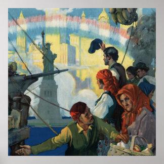 Inmigrantes y la estatua de las ilustraciones de póster