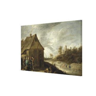 Inn by a River Canvas Print