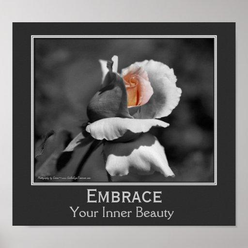 inner beauty quote rosebud flower inspirational poster