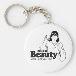 INNER BEAUTY WON'T GET YOU LAID BASIC ROUND BUTTON KEYCHAIN