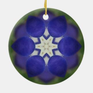 Inner Bluebonnet Flower Ceramic Ornament