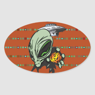 Inner Earth Aliens Oval Sticker