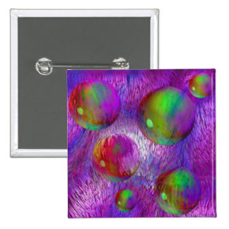 Inner Flow I Abstract Fractal Green Purple Galaxy Pinback Button