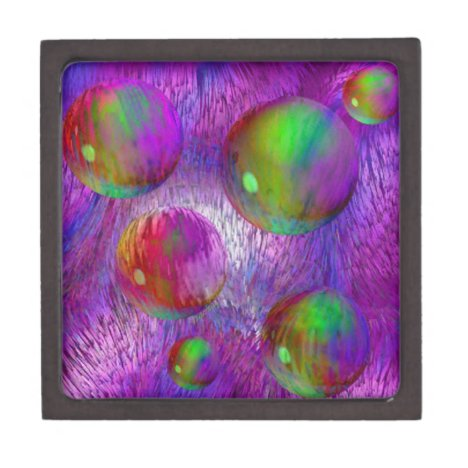 Inner Flow I Abstract Fractal Green Purple Galaxy Jewelry Box