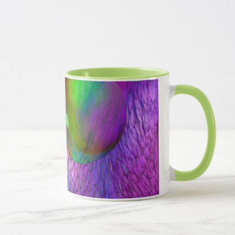 Inner Flow I Abstract Fractal Green Purple Galaxy Mug