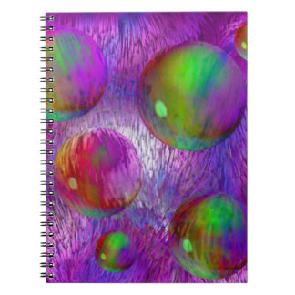 Inner Flow I Abstract Fractal Green Purple Galaxy Spiral Notebooks