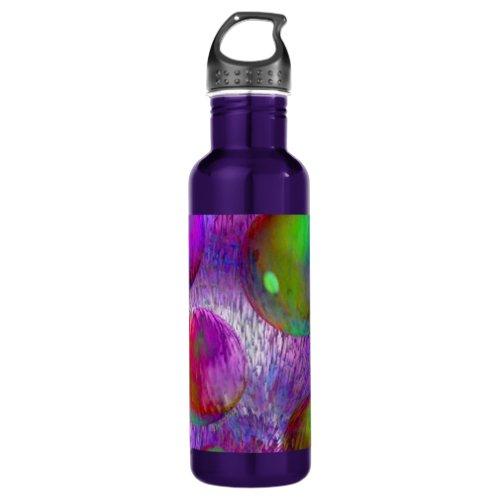 Inner Flow I Abstract Fractal Green Purple Galaxy Water Bottle