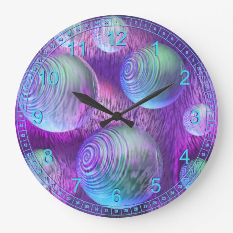 Inner Flow II - Abstract Indigo & Lavender Galaxy Large Clock