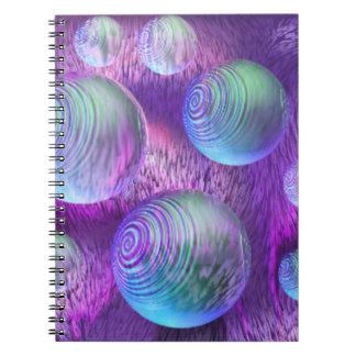 Inner Flow II - Abstract Indigo & Lavender Galaxy Spiral Note Book