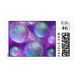 Inner Flow II - Abstract Indigo & Lavender Galaxy Stamp