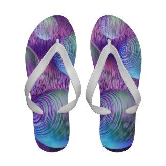 Inner Flow II, Abstract Indigo Lavender Universe Sandals