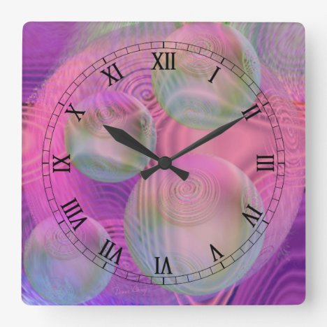 Inner Flow III – Fuchsia & Violet Abstract Galaxy Square Wall Clock