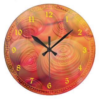 Inner Flow IV - Abstract Orange & Amber Galaxy Wallclocks
