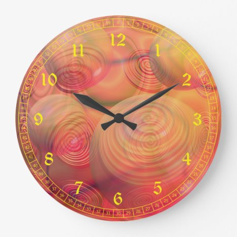 Inner Flow IV - Abstract Orange & Amber Galaxy Large Clock