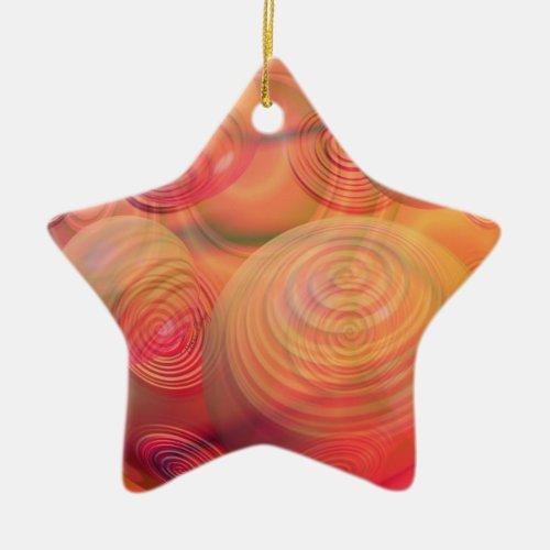 Inner Flow IV Fractal Abstract Orange Amber Galaxy Ceramic Ornament