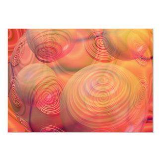 "Inner Flow IV Fractal Abstract Orange Amber Galaxy 5"" X 7"" Invitation Card"