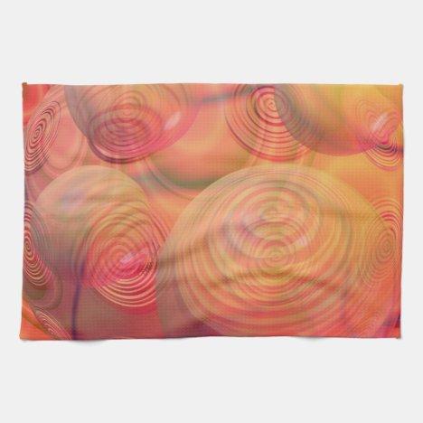 Inner Flow IV Fractal Abstract Orange Amber Galaxy Kitchen Towel