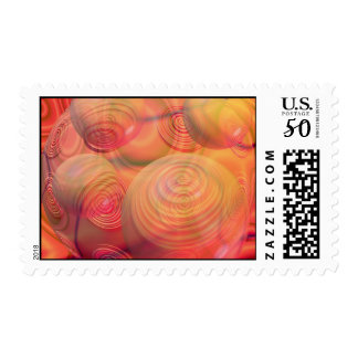 Inner Flow IV Fractal Abstract Orange Amber Galaxy Postage