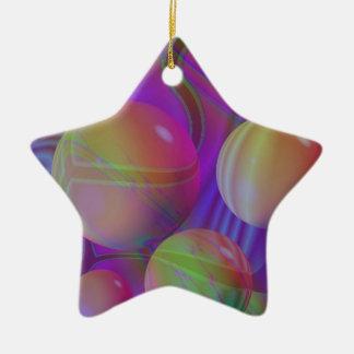 Inner Flow V Abstract Fractal Violet Indigo Galaxy Ceramic Ornament