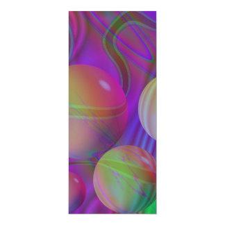"""Inner Flow V Abstract Fractal Violet Indigo Galaxy 4"""" X 9.25"""" Invitation Card"""