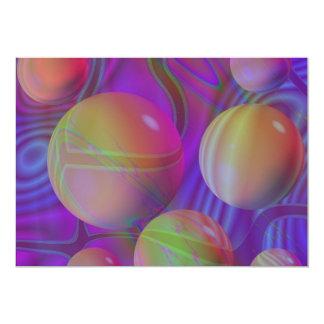 """Inner Flow V Abstract Fractal Violet Indigo Galaxy 5"""" X 7"""" Invitation Card"""