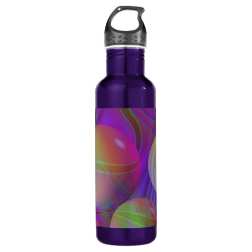 Inner Flow V Abstract Fractal Violet Indigo Galaxy Stainless Steel Water Bottle