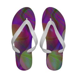 Inner Flow V Abstract Violet Indigo Fractal Galaxy Flip-Flops