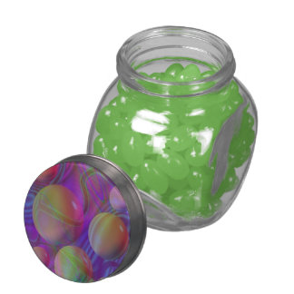 Inner Flow V Abstract Violet Indigo Fractal Galaxy Jelly Belly Candy Jar