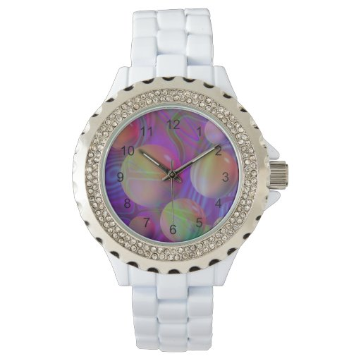Inner Flow V Abstract Violet Indigo Fractal Galaxy Watches