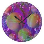 Inner Flow V - Abstract Violet & Indigo Galaxy Wall Clocks