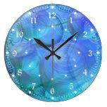 Inner Flow VI – Abstract Aqua & Azure Galaxy Round Wall Clocks