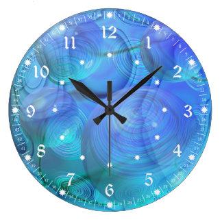 Inner Flow VI – Abstract Aqua & Azure Galaxy Clocks