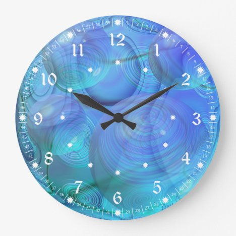 Inner Flow VI – Abstract Aqua & Azure Galaxy Large Clock