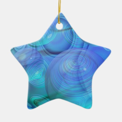 Inner Flow VI – Aqua &amp&#x3B; Azure Galaxy Ceramic Ornament