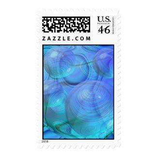 Inner Flow VI – Aqua & Azure Galaxy Postage Stamps