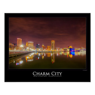Inner Harbor Reflects in the night -- Charm City Poster