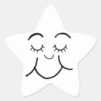 Inner peace face star sticker