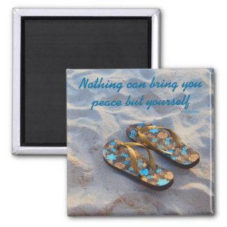 Inner Peace Inspiration motto Ralph Waldo Emerson 2 Inch Square Magnet