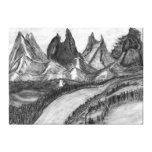 Inner Peace Landscape Pencil Drawing Canvas Print