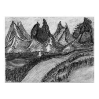 Inner Peace Landscape Pencil Drawing Poster Print