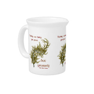 Inner Peace Quote Flowers Inspirational Pitcher