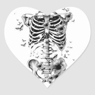 Inner peace, skeleton with poppies and butterflies heart sticker