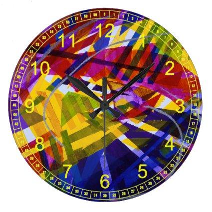 Inner Space – Abstract Rainbow Streams Light Wall Clocks