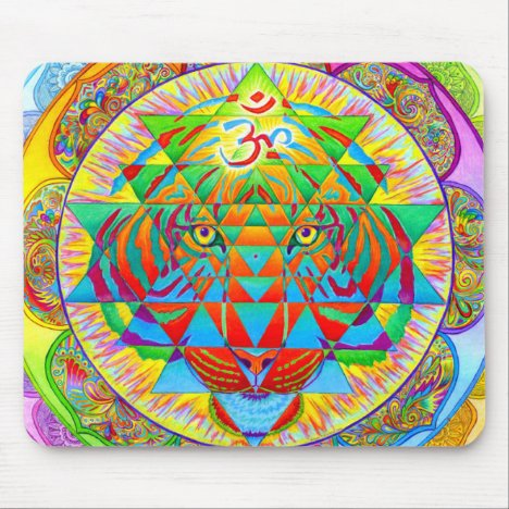 Inner Strength Psychedelic Tiger Mandala Mouse pad