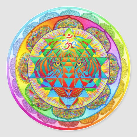 Inner Strength Psychedelic Tiger Mandala Sticker