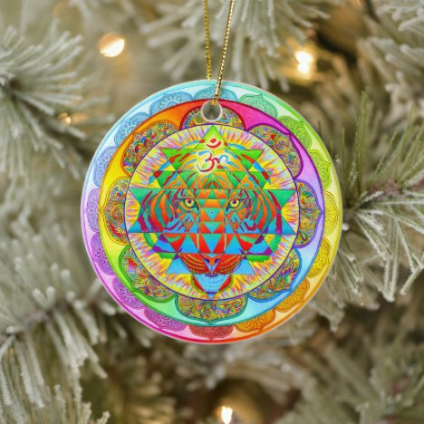 Inner Strength Rainbow Mandala Ceramic Ornament