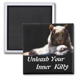 Inner Tiger Kitty 2 Inch Square Magnet