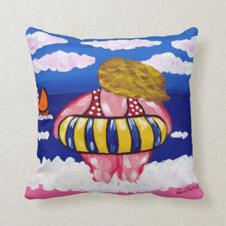 Inner Tube Beach Diva Colorful Whimsical Folk Art Throw Pillow