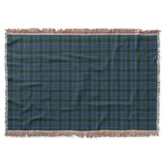 Innes Clan Dark Blue and Green Hunting Tartan Throw Blanket